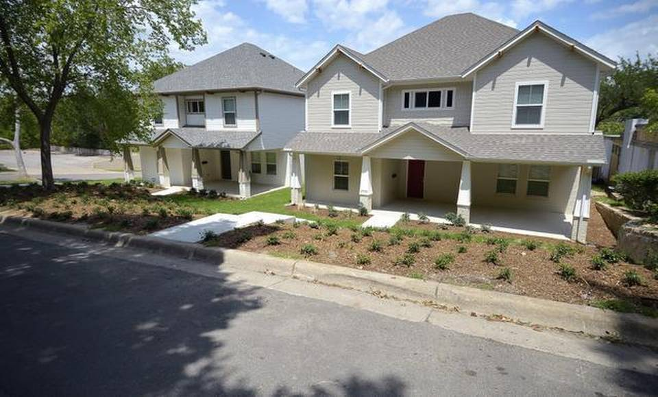 The proposed overlay will affect students' ability to live in houses such as these on Sandage Avenue.