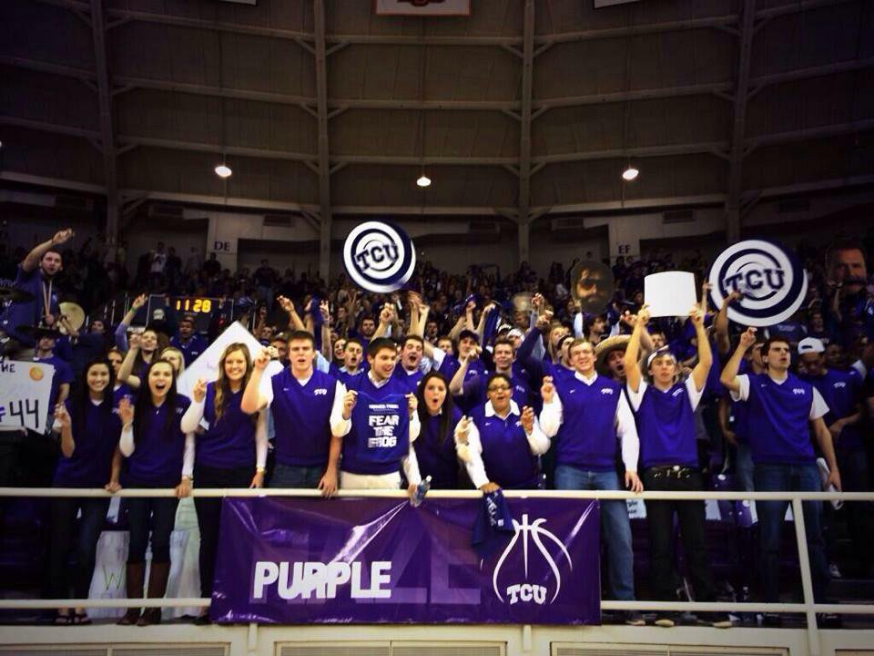 Purple Haze Members cheer on the TCU Men's Basketball team against the Kansas Jayhawks on January 25th, 2015.