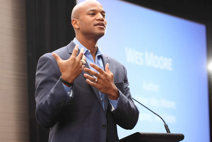 Wes Moore, the author of TCU's latest common reading, spoke to a packed audience in the BLUU Ballroom Wednesday, Oct. 28. (Photo by Emily Laff.)