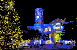 Purple and white lights make the BLUU sparkle.  Snowflakes are projected onto the building for the evening but the lights stay on through winter nights.  (Sam Bruton/TCU Staff Photographer)