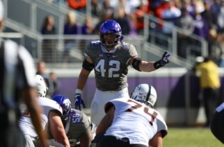 TCU linebacker Ty Summers calls out the defensive signals against Oklahoma State. (Photo Courtesy of Sam Bruton/TCU photographer).