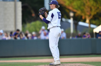 Durbin Feltman readies himself for the next pitch against Game 1 of the Super Regionals against Missouri State. (GoFrogs.com)