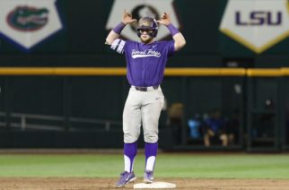 Evan Skoug celebrates his bases-clearing, three-run double in the sixth inning of a 9-2 victory over Florida. (Photo by Sam Bruton)