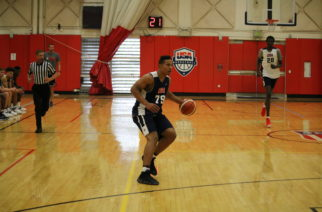 TCU guard Desmond Bane drives to the hoop at the U-19 Team USA tryouts in Colorado. (Photo courtesy of USA Basketball)