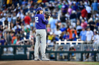 Nick Lodolo readies to pitch against Florida in TCU's CWS opener Sunday night. (Photo courtesy of GoFrogs.com)