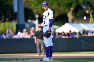 Jared Janczak collects his thoughts on the mound in Game 1 of the Super Regionals against Missouri State. (Photo courtesy of GoFrogs.com)