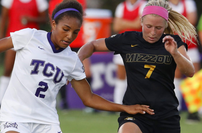 TCU vs Missouri women's soccer at at Garvey-Rosenthal Soccer Stadium in Fort Worth, Texas on September 3, 2017. (Photo by Gregg Ellman)