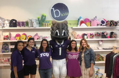 TCU fans interact with SuperFrog on September 20 during Go Purple Friday.  Photo Courtesy of TCU Athletics