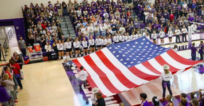 Volleyball had their largest crowd of the season, which required many fans to stand for the match. (Photo courtesy of Gofrogs.com)