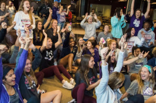 The TCU women's soccer team gather for the 2017 NCAA D1 soccer selection show in Fort Worth, Texas on November 6, 2017. (Photo by/Ellman Photography)