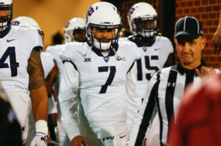 Kenny Hill walks with his head down after TCU's 38-20 loss to Oklahoma. Photo courtesy of GoFrogs.com