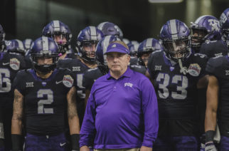 Gary Patterson looks out onto the field as the team prepares to jog onto the field. Photo by Cristian ArguetaSoto
