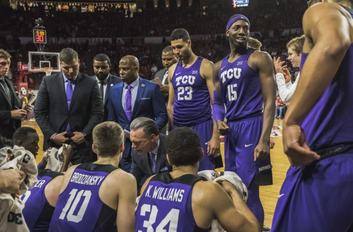 TCU huddles up against Oklahoma in Norman. Photo by Cristian ArguetaSoto