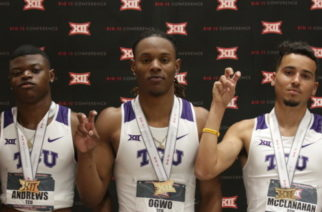 Newton and the men's 4x400 relay secure first-place finishes at the Big 12 Championships.