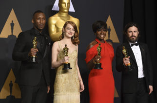 """Mahershala Ali, winner of the award for best actor in a supporting role for """"Moonlight"""", from left, Emma Stone, winner of the award for best actress in a leading role for """"La La Land"""", Viola Davis, winner of the award for best actress in a supporting role for """"Fences"""", and Casey Affleck, winner of the award for best actor in a leading role for """"Manchester by the Sea"""", pose in the press room at the Oscars on Sunday, Feb. 26, 2017, at the Dolby Theatre in Los Angeles. (Photo by Jordan Strauss/Invision/AP)"""