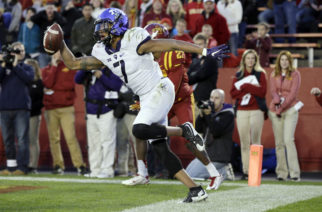 TCU wide receiver Kolby Listenbee celebrates after catching a touchdown pass during the first half of an NCAA college football game against Iowa State, Saturday, Oct. 17, 2015, in Ames, Iowa. (AP Photo/Charlie Neibergall)