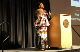 Leymah Gbowee draws on her personal experiences regarding human rights.