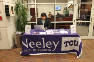 The navigators are located on the first floor of Tandy Hall outside of the Neeley professional development center.