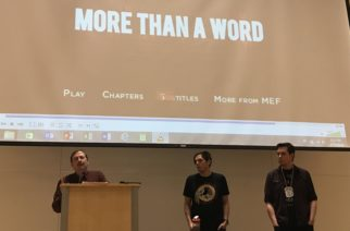 "Professor of religion Scott Langston introducing ""More Than a Word"" filmmakers, John and Kenn Little, to the TCU audience Wednesday evening. Photo by Carolina Olivares."