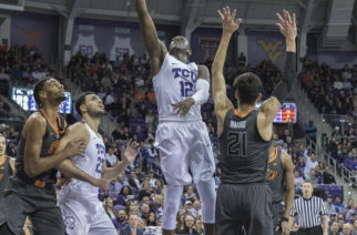 TCU forward Kouat Noi drives to the hoop against Oklahoma State. Photo by Cristian ArguetaSoto