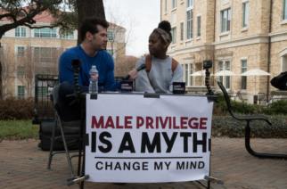 Shanel Alexander and Stephen Crowder talk about whether male privilege exists. (Photo by Shane Battis.)