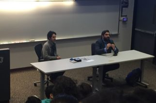 """Joel Fendelman and James Chase Sanchez discuss the film """"Man on Fire"""" at TCU on March 1, 2018. (Photo by Michelle Carter)"""