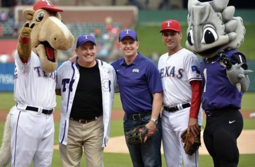 Featured Image: TCU coaches Gary Patterson and Jim Schlossnagle pose on the field of 2014's University Days celebration. Photo courtesy of Big 12 Conference.