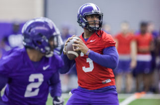 TCU quarterback Shawn Robinson(red) drops back to pass in practice. Photo by Cristian ArguetaSoto