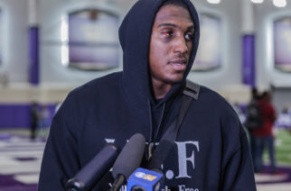 TCU wide receiver John Diarse speaks to the media after his Pro Day workout. Photo by Cristian ArguetaSoto