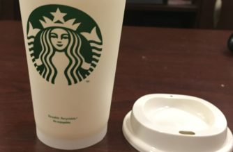 This is just one of the 300 reusable Starbucks coffee cups distributed to Students by the TCU SGA.
