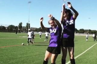 TCU Women's Club Soccer teammates jumping for joy before a soccer match. (Photo courtesy of TCU Women's Club Soccer Instagram)