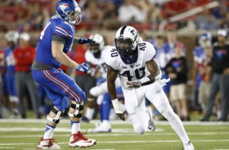 TCU defensive end James McFarland (40) plays against SMU in an NCAA college football game, Saturday, Sept. 23, 2016, in Dallas, Texas. TCU defeated SMU 33-3. (AP Photo/Mike Stone)