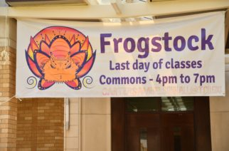 The Frogstock poster is easy to spot as students walk across the Campus Commons. (Photo by Kayley Ryan)